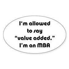 Value Added MBA Oval Sticker (10 pk)
