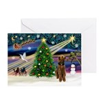Santa & His Airedale Greeting Cards