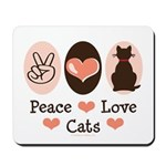 Peace Love Cats Kitty Cat Mousepad