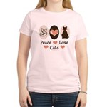 Peace Love Cats Kitty Cat Pink Brown T Shirt