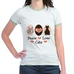 Peace Love Cats Kitty Cat Jr. Ringer T-Shirt