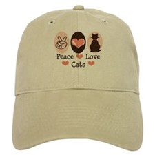 Peace Love Cats Kitty Cat Baseball Cap