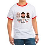 Peace Love Cats Kitty Cat Ringer T
