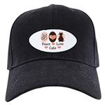 Peace Love Cats Kitty Cat Black Cap