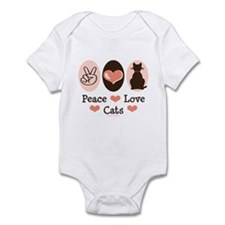 Peace Love Cats Kitty Cat Infant Bodysuit