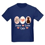 Peace Love Cats Kitty Cat Kids Dark T-Shirt