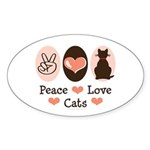 Peace Love Cats Kitty Cat Oval Sticker