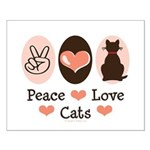 Peace Love Cats Kitty Cat Small Poster