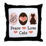 Peace Love Cats Kitty Cat Throw Pillow