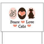 Peace Love Cats Kitty Cat Yard Sign