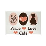 Peace Love Cats Kitty Cat Rectangle Magnet (100 pa