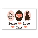 Peace Love Cats Kitty Cat Rectangle Sticker 10 pk