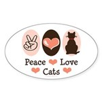 Peace Love Cats Kitty Cat Oval Sticker (10 pk)