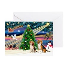 Xmas Magic/2 Beagles Greeting Card