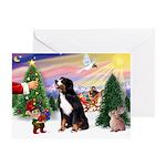XmasSunrise/Bernese Mt Dog Greeting Card