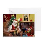Santa's Border Terrier Greeting Cards (Pk of 20)