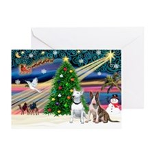 """""""Christmas Magic"""" with two Bull Terr Greeting Card"""