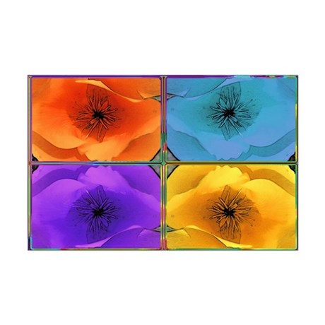 Four Poppies Mini Poster Print