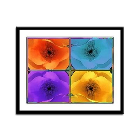 Four Poppies Framed Panel Print