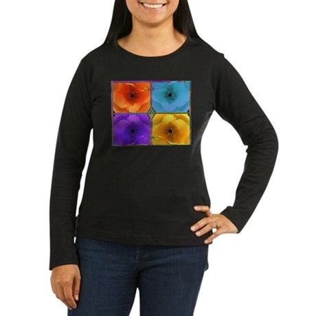Four Poppies Women's Long Sleeve Dark T-Shirt