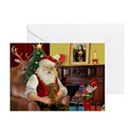 Santa's Dachshund (brn) Greeting Cards (Pk of 20)