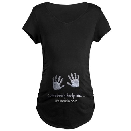 Baby Handprints Maternity Dark T-Shirt