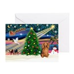 XmasSunrise/Dachshund LH Greeting Card