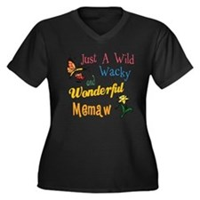 Wild Wacky Memaw Women's Plus Size V-Neck Dark T-S