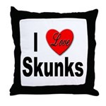 I Love Skunks for Skunk Lovers Throw Pillow