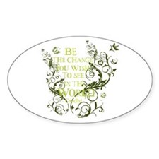 Gandhi Vine - Be the change - Green Oval Decal