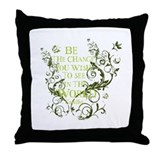 Gandhi Vine - Be the change - Green Throw Pillow