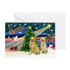Xmas Magic/2 Goldens Greeting Card