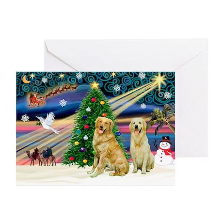 Xmas Magic/2 Goldens Greeting Cards (Pk of 10)