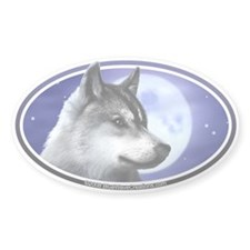 Wolf Moon I car bumper sticker decal (Oval)