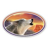 Desert Wolf II car bumper sticker decal (Oval)