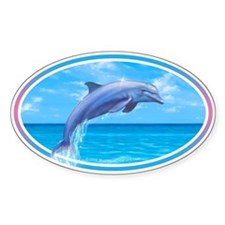 Dolphin car bumper sticker decal Oval Bumper Stickers