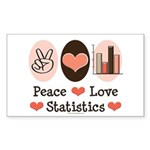 Peace Love Statistics Rectangle Sticker