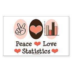 Peace Love Statistics Rectangle Sticker 10 pk)