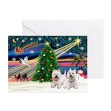 Xmas Magic/2 Westies Greeting Cards (Pk of 20)