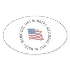 Happy Memorial Day Oval Decal