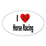 I Love Horse Racing Oval Sticker (10 pk)