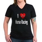 I Love Horse Racing (Front) Women's V-Neck Dark T-