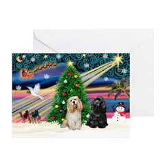 XmasMagic/ 2 Cockers Greeting Cards (Pk of 10)
