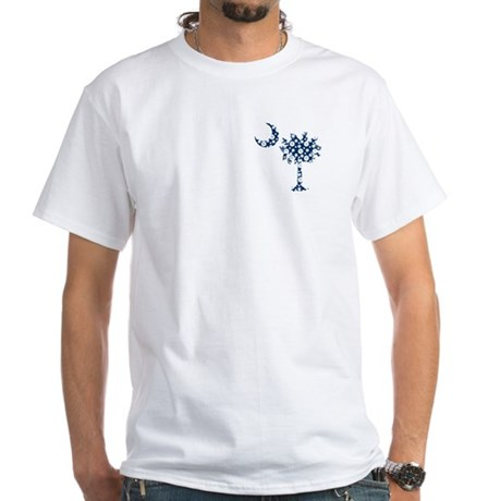 White Sand Dollar Pattern Palmetto White T-Shirt