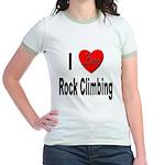 I Love Rock Climbing (Front) Jr. Ringer T-Shirt