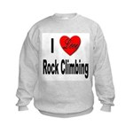 I Love Rock Climbing (Front) Kids Sweatshirt