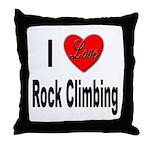I Love Rock Climbing Throw Pillow