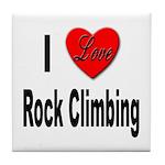 I Love Rock Climbing Tile Coaster