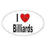 I Love Billiards Oval Sticker (10 pk)