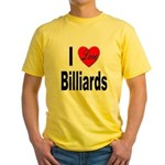 I Love Billiards (Front) Yellow T-Shirt